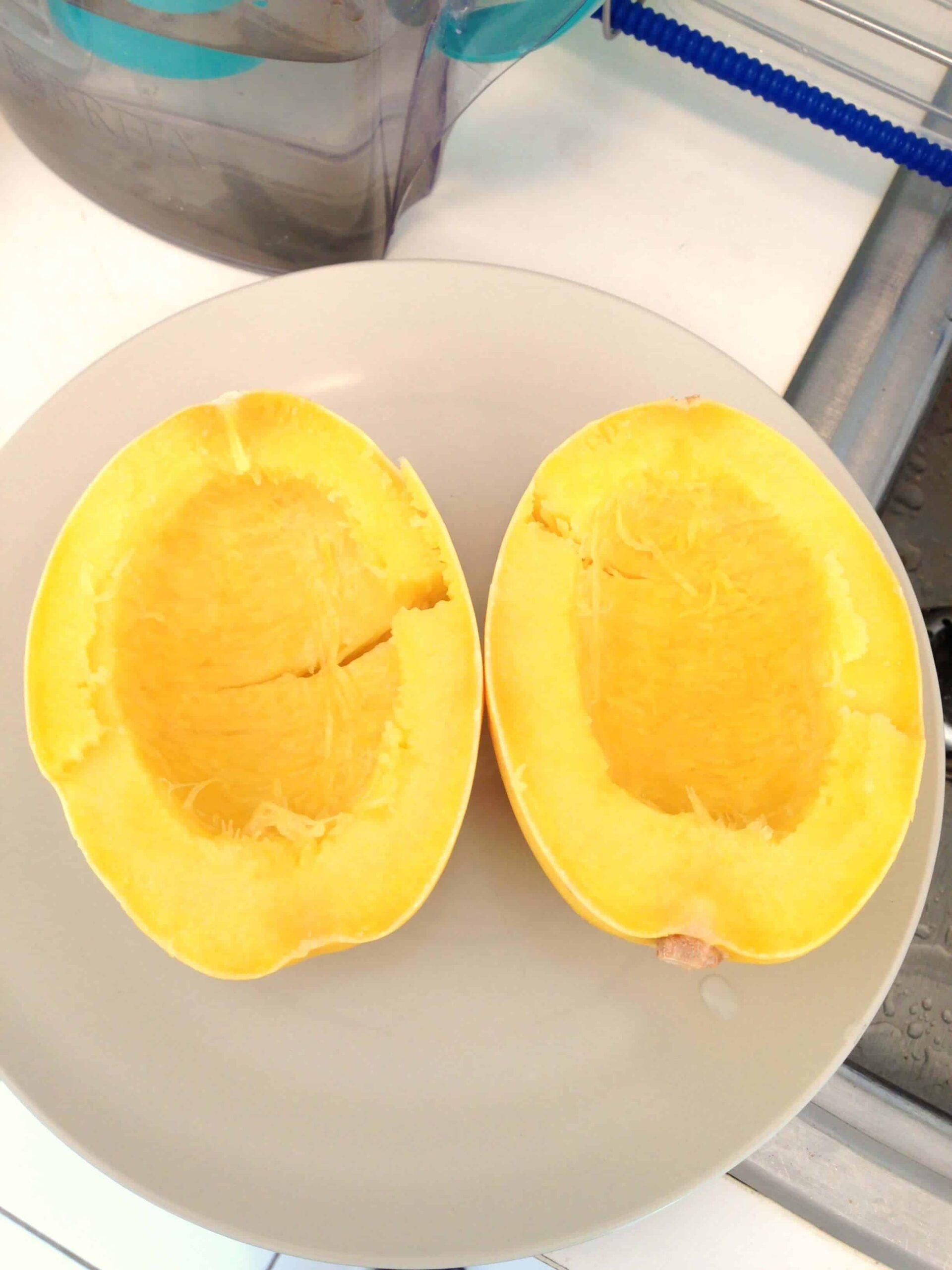 image of cooked and tender spaghetti squash ready to be made into alfredo spaghetti squash