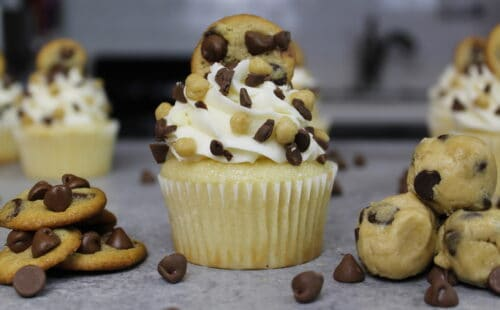 image of chocolate chip cookie dough stuffed cupcakes