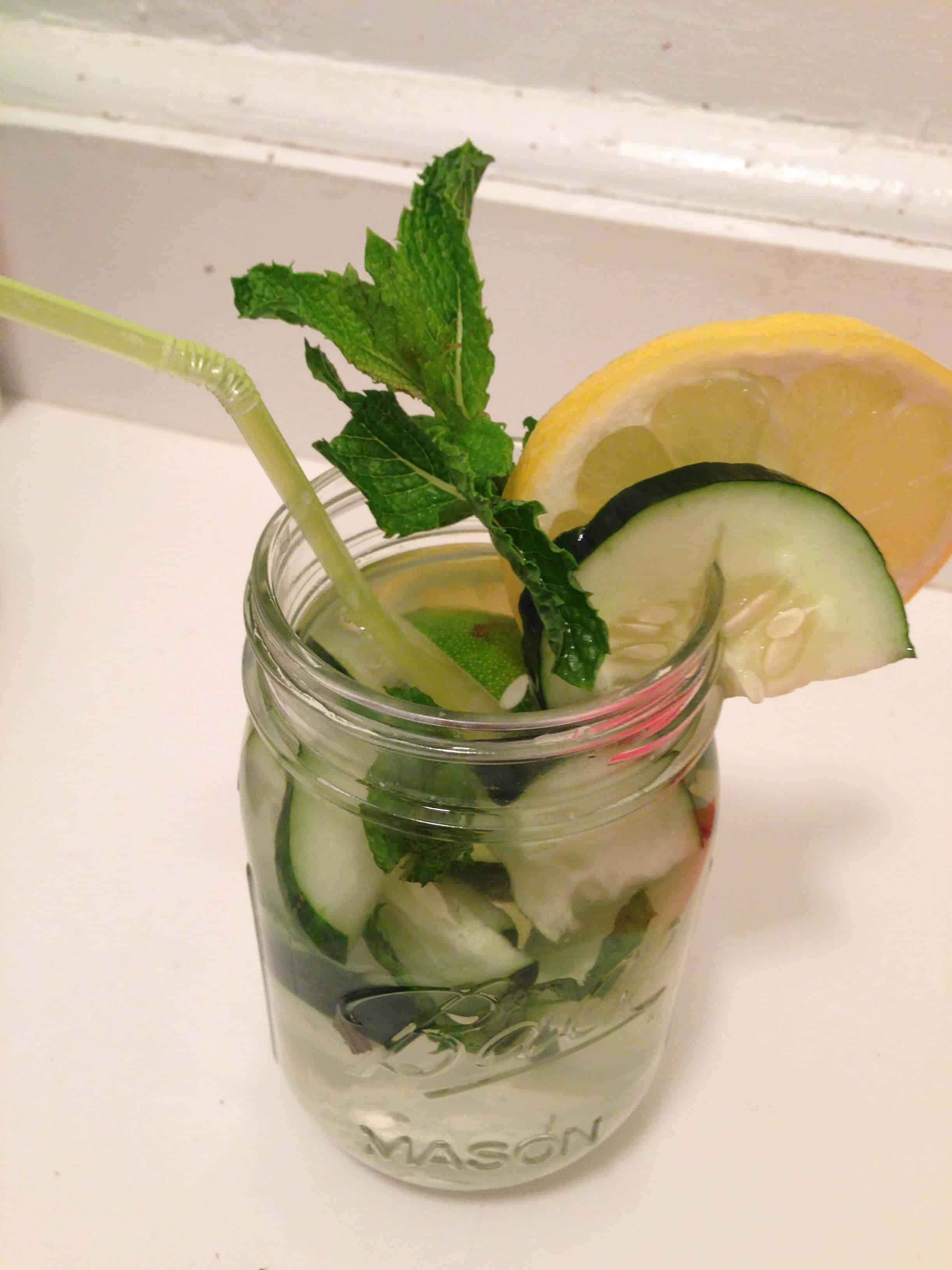 image of cucumber lemon water in a cute mason jar