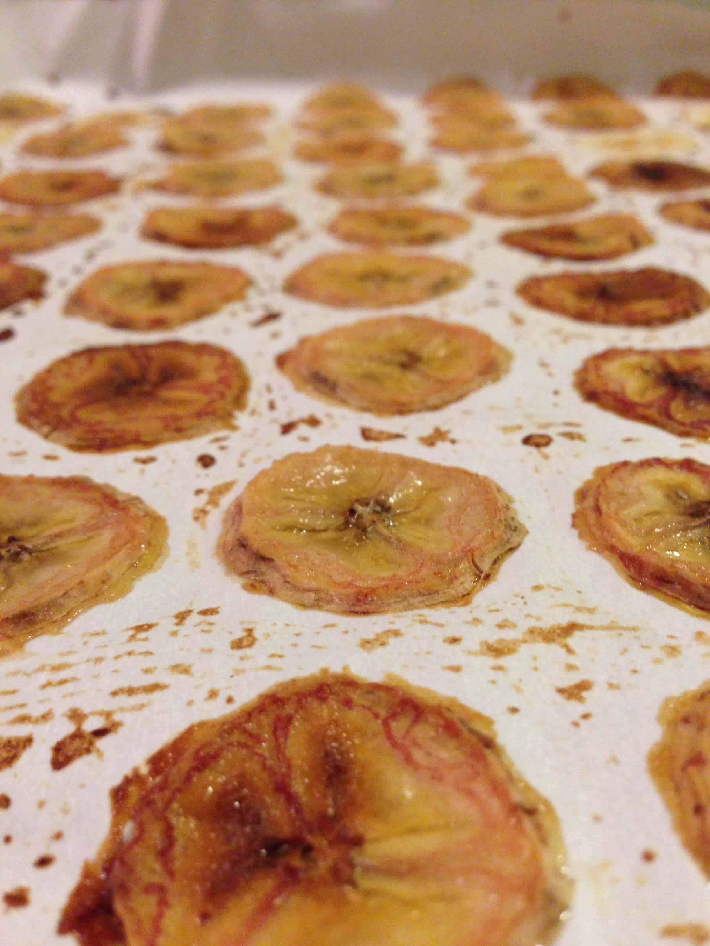 image of banana chips baked in an oven