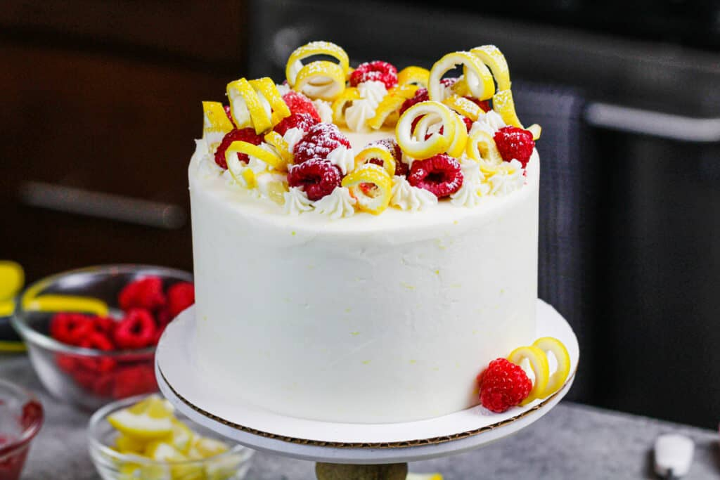 image of fresh lemon and raspberry cake