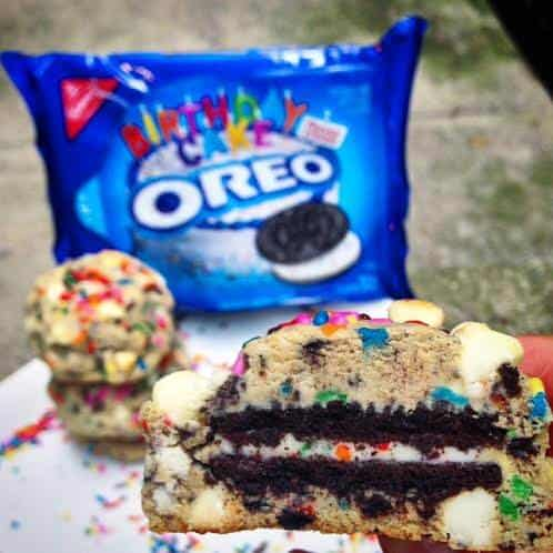 Awesome Birthday Cake Oreo Stuffed Funfetti Cookies Chelsweets Funny Birthday Cards Online Elaedamsfinfo