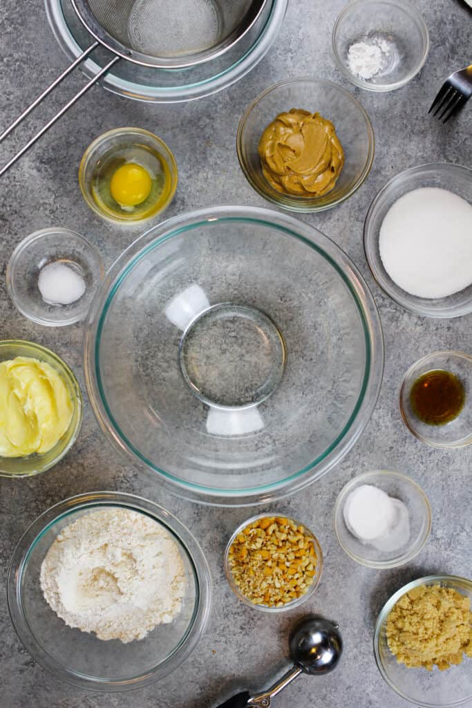 image of ingredients laid out to make soft and chewy peanut butter cookies