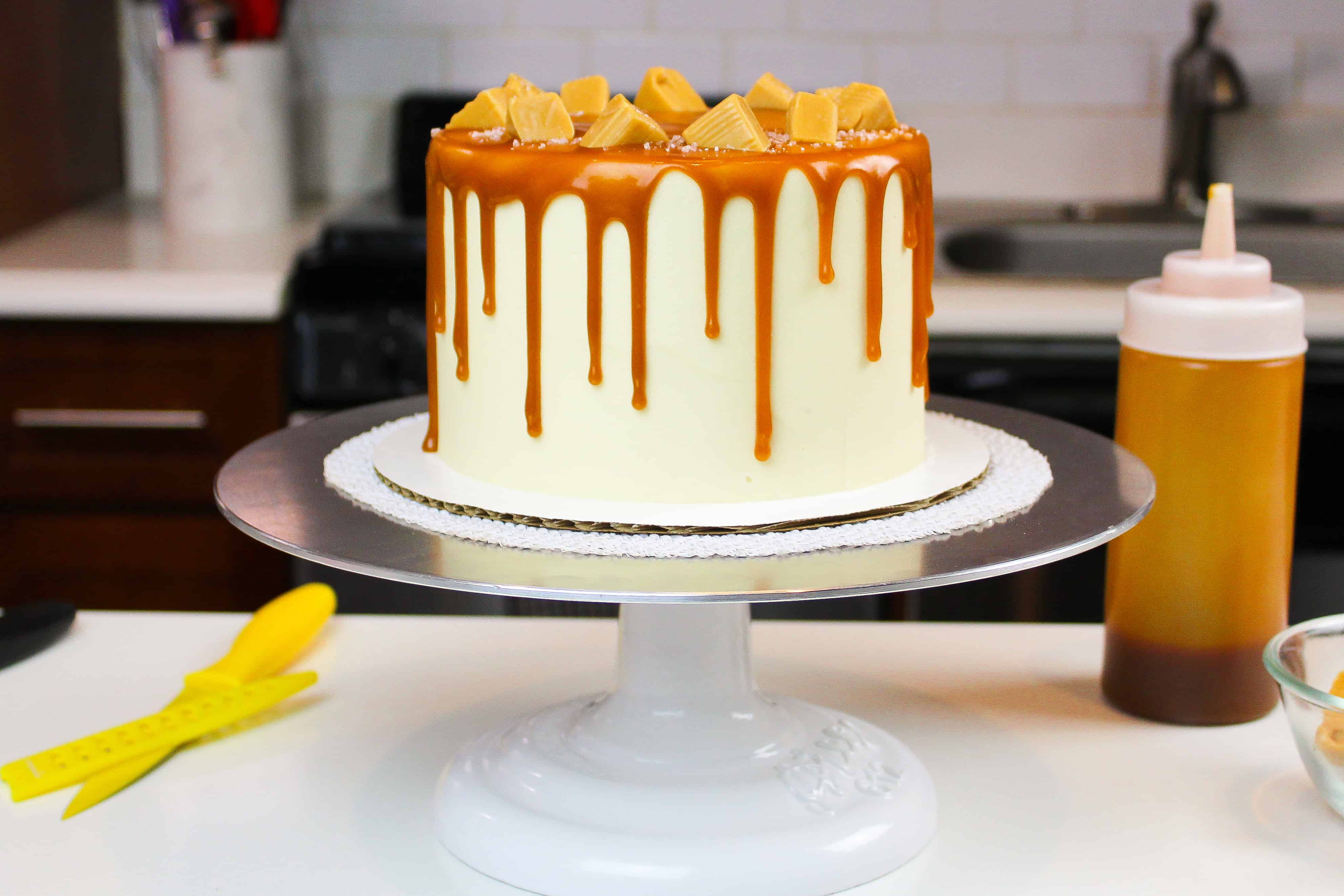salted caramel drip cake photo