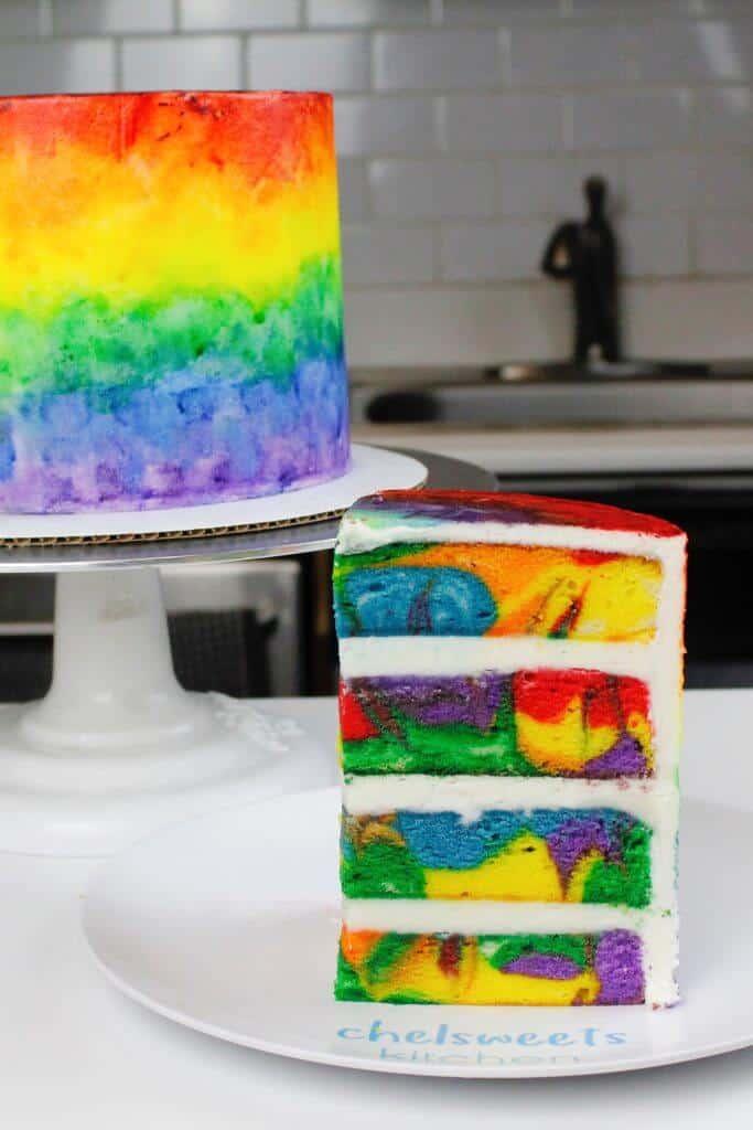 Rainbow swirled cake, made with my vanilla layer cake recipe