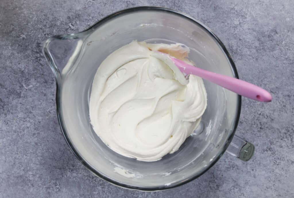 image of smooth dairy free buttercream frosting in bowl