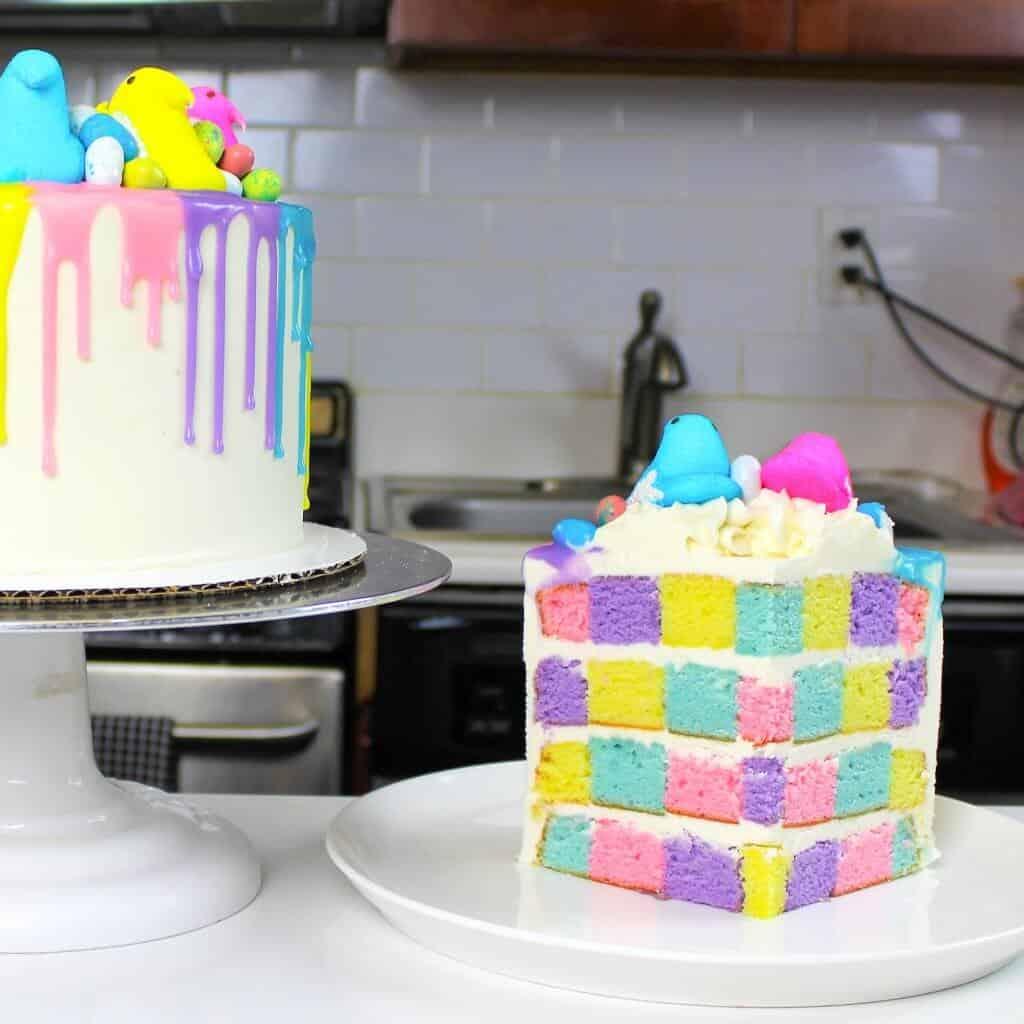 sliced peeps drip cake