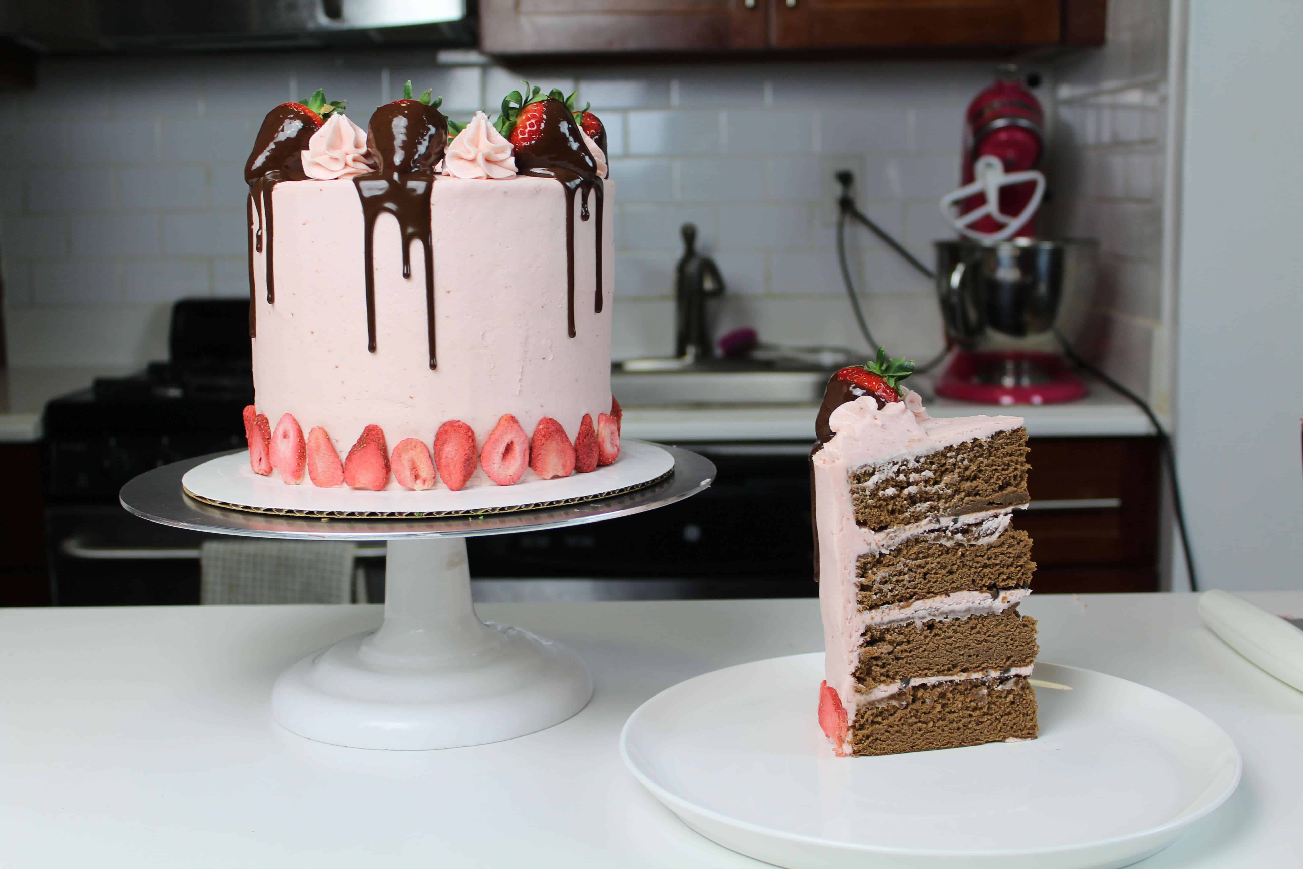 Chocolate Covered Strawberry Drip Cake