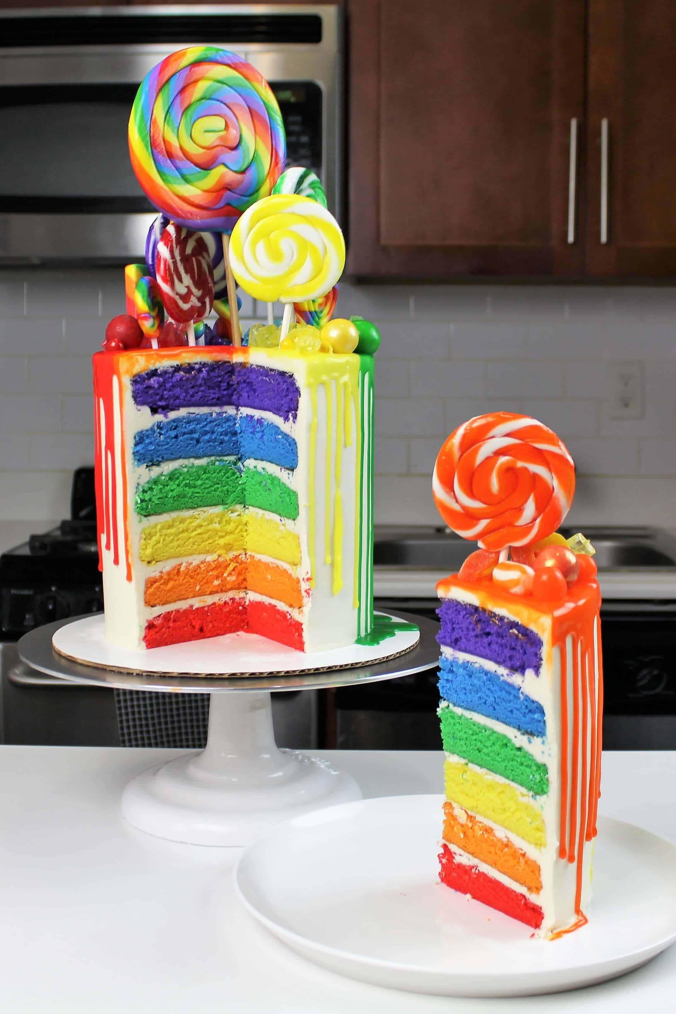 Rainbow drip cake photo