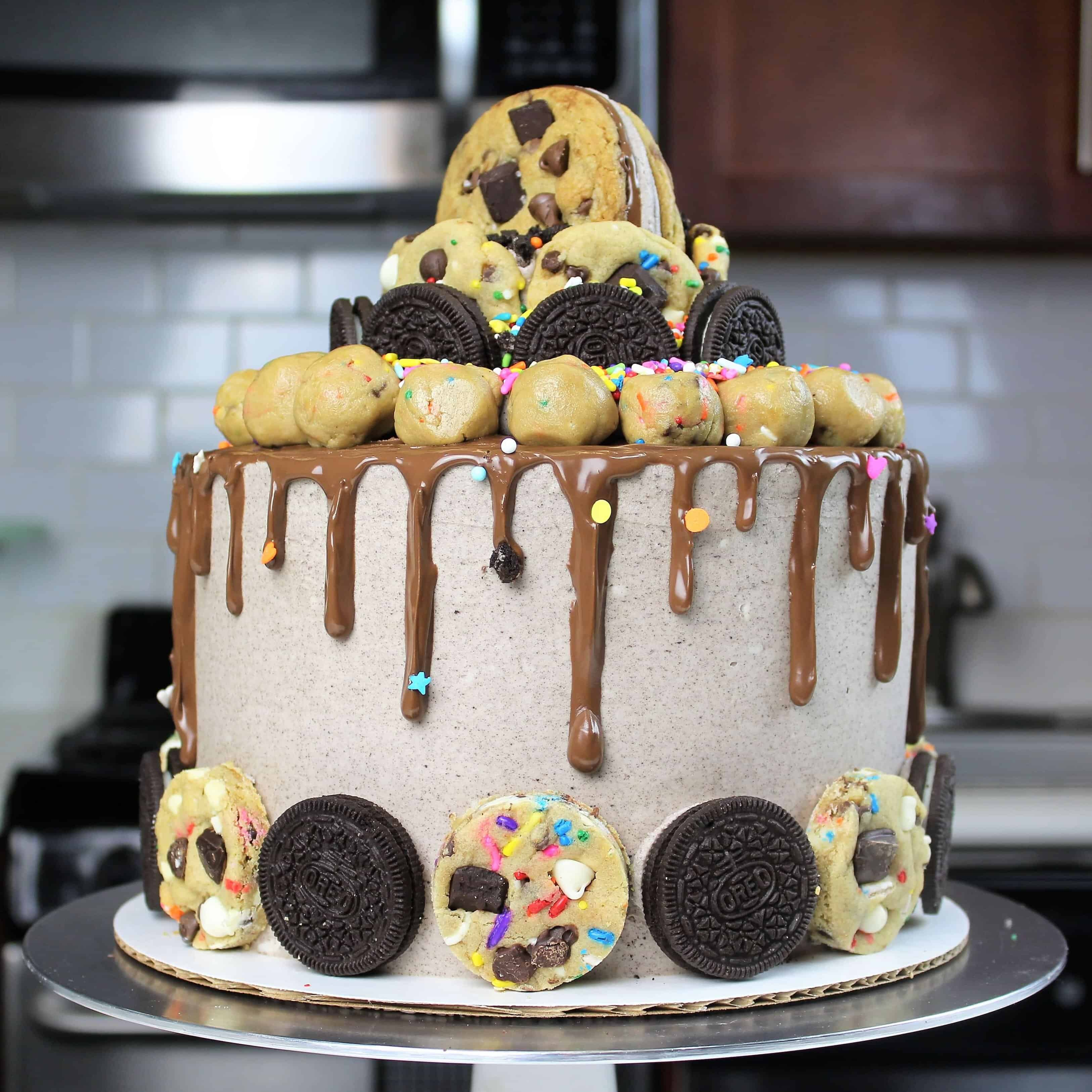 oreo cooke dough cake decorated with nutella buttercream and a nutella drip!
