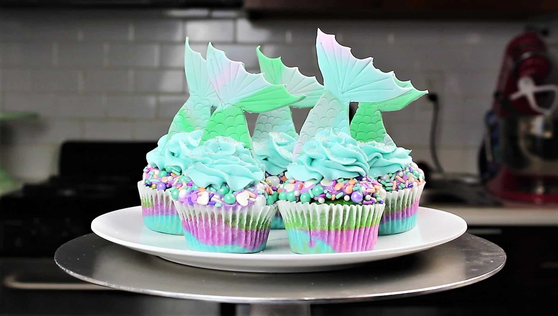 image of mermaid tail cupcakes