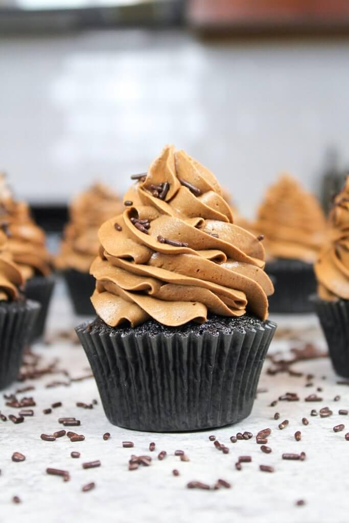 Photo of a batch of my moist chocolate cupcake recipe