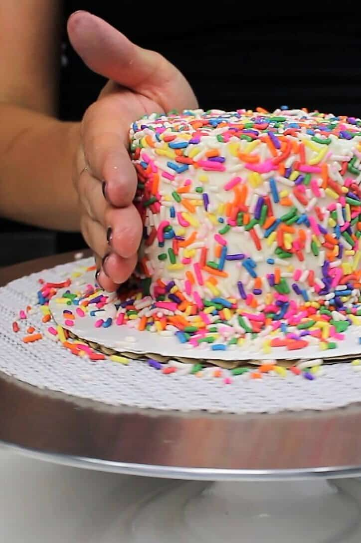 Tiny funfetti smash cake, covered with sprinkles