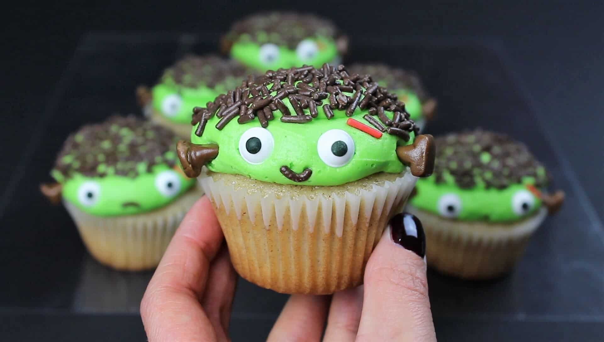 image of cute frankenstein cupcakes for halloween