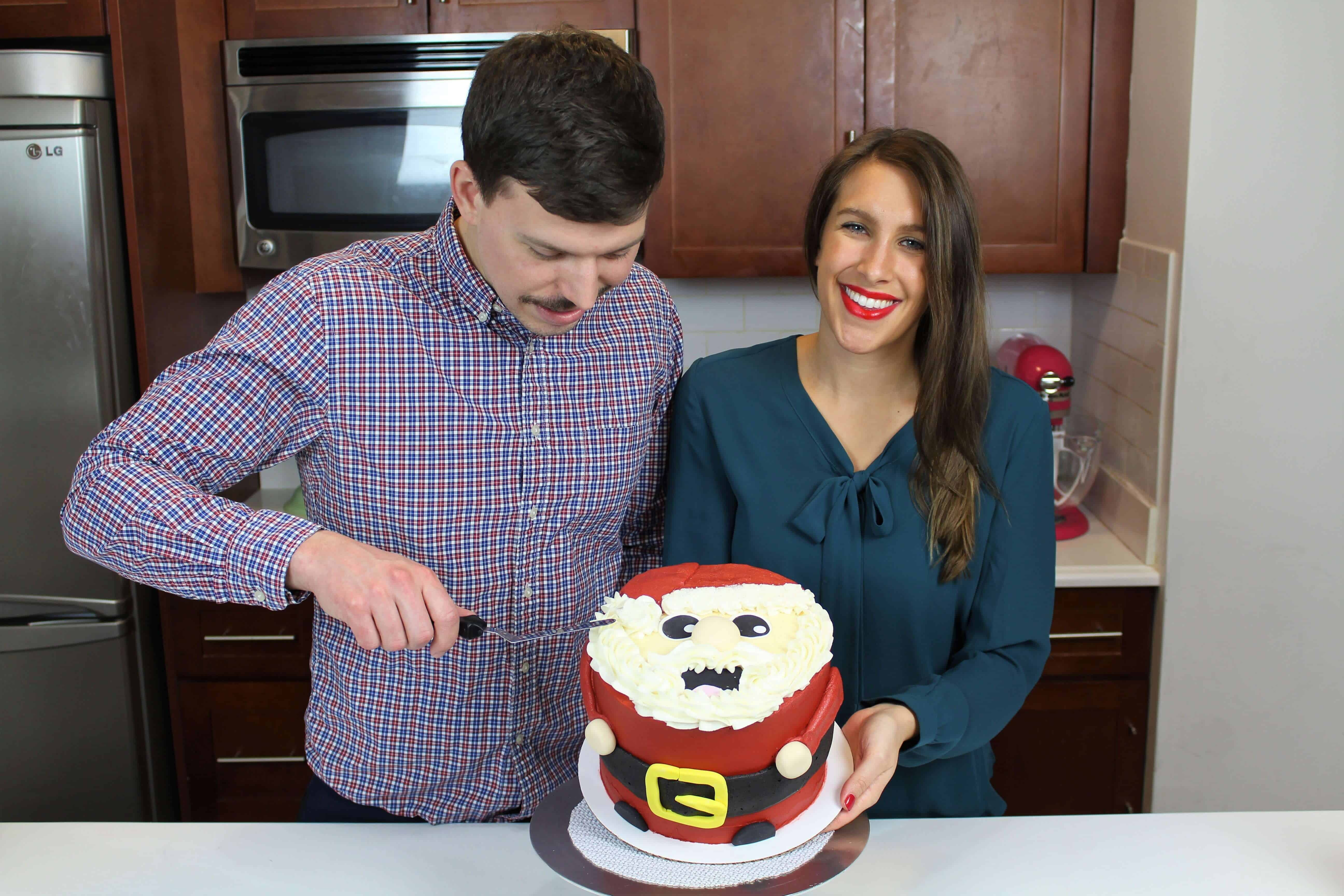 Image of Chelsey White and Stephen Frankola making a Santa Claus Cake