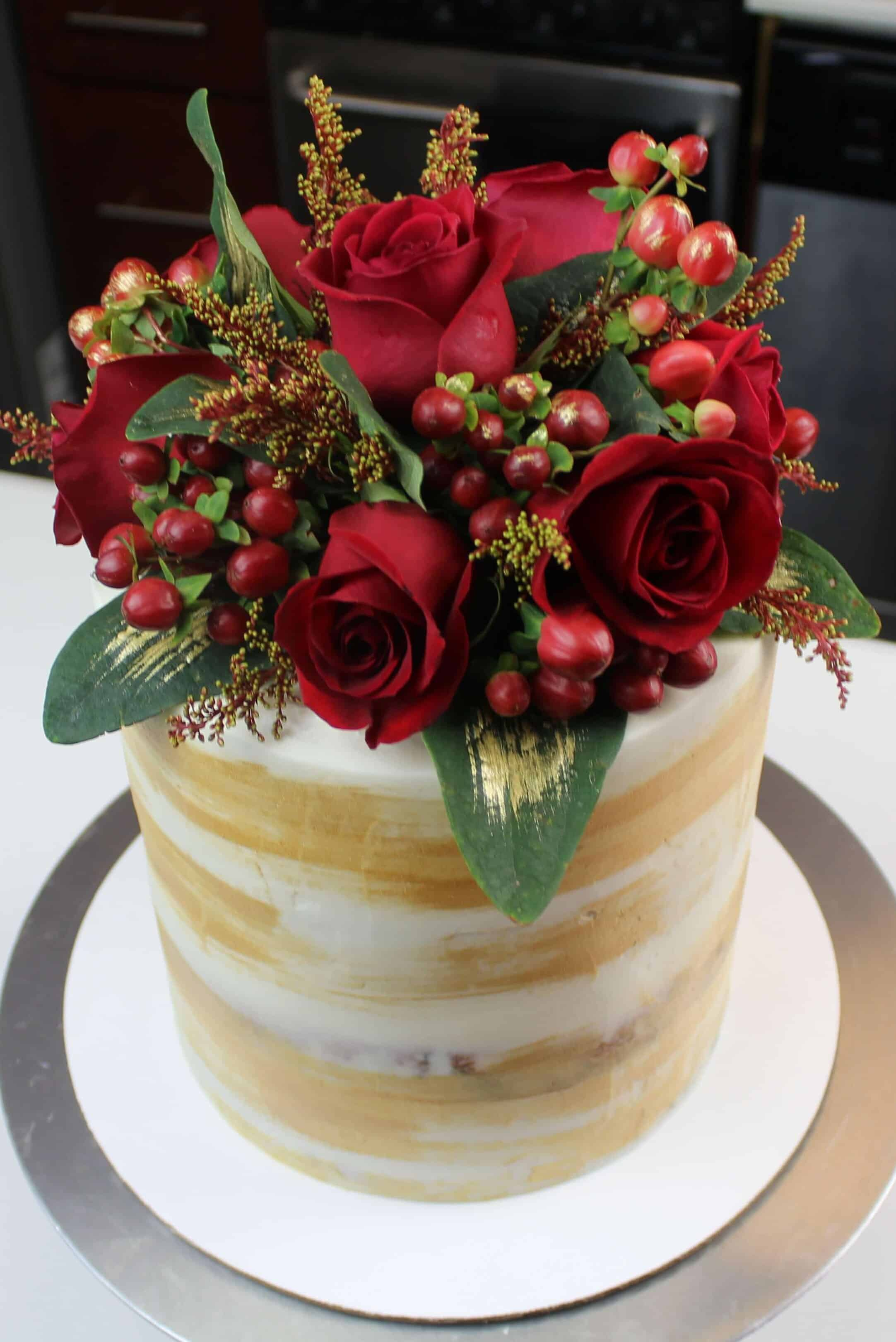 Rose water floral engagement cake