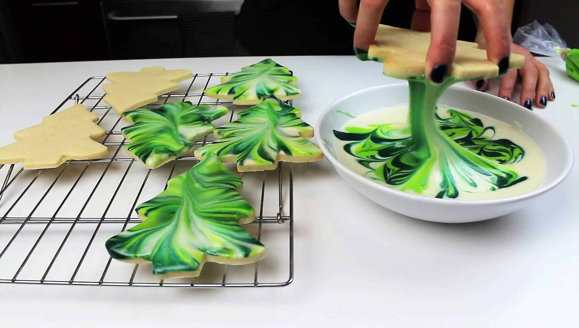 image of marbled royal icing sugar cookies that look like christmas tree