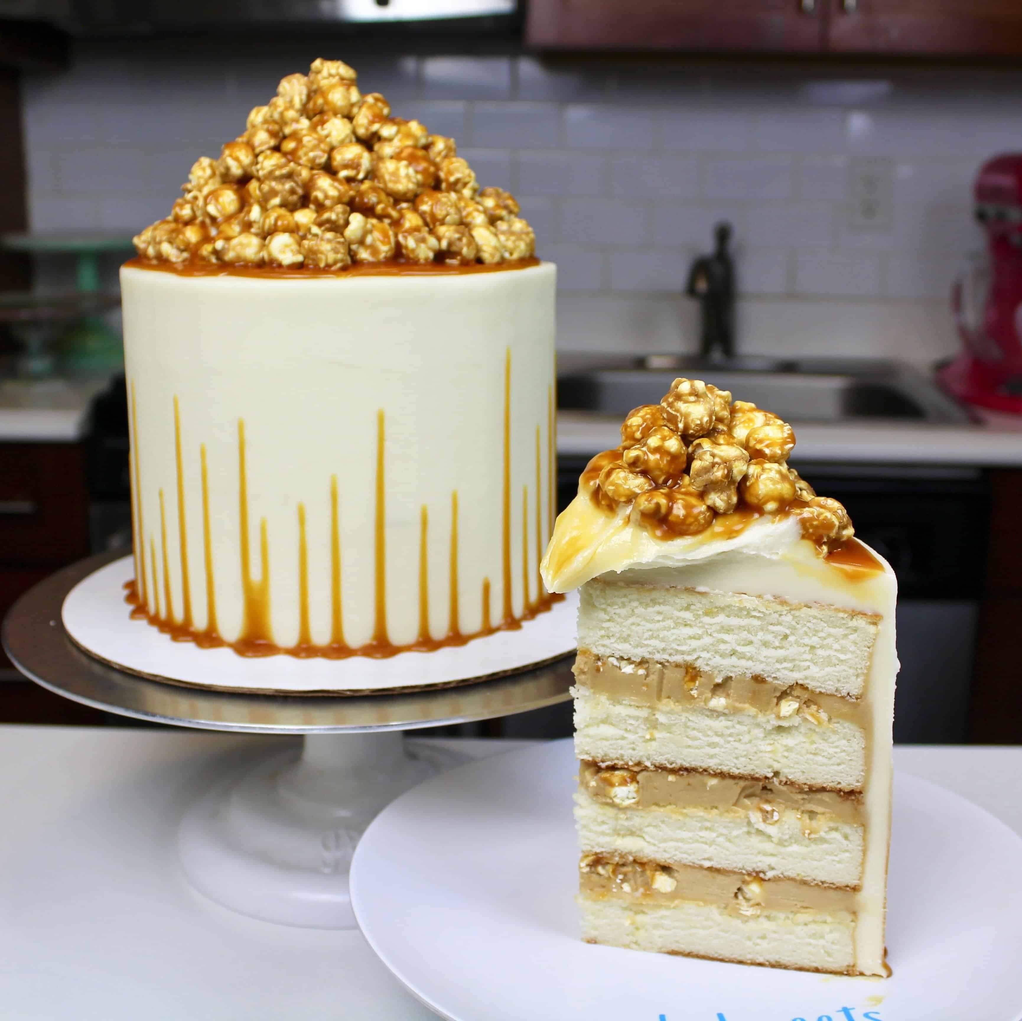 caramel corn cake with an upside down caramel drip