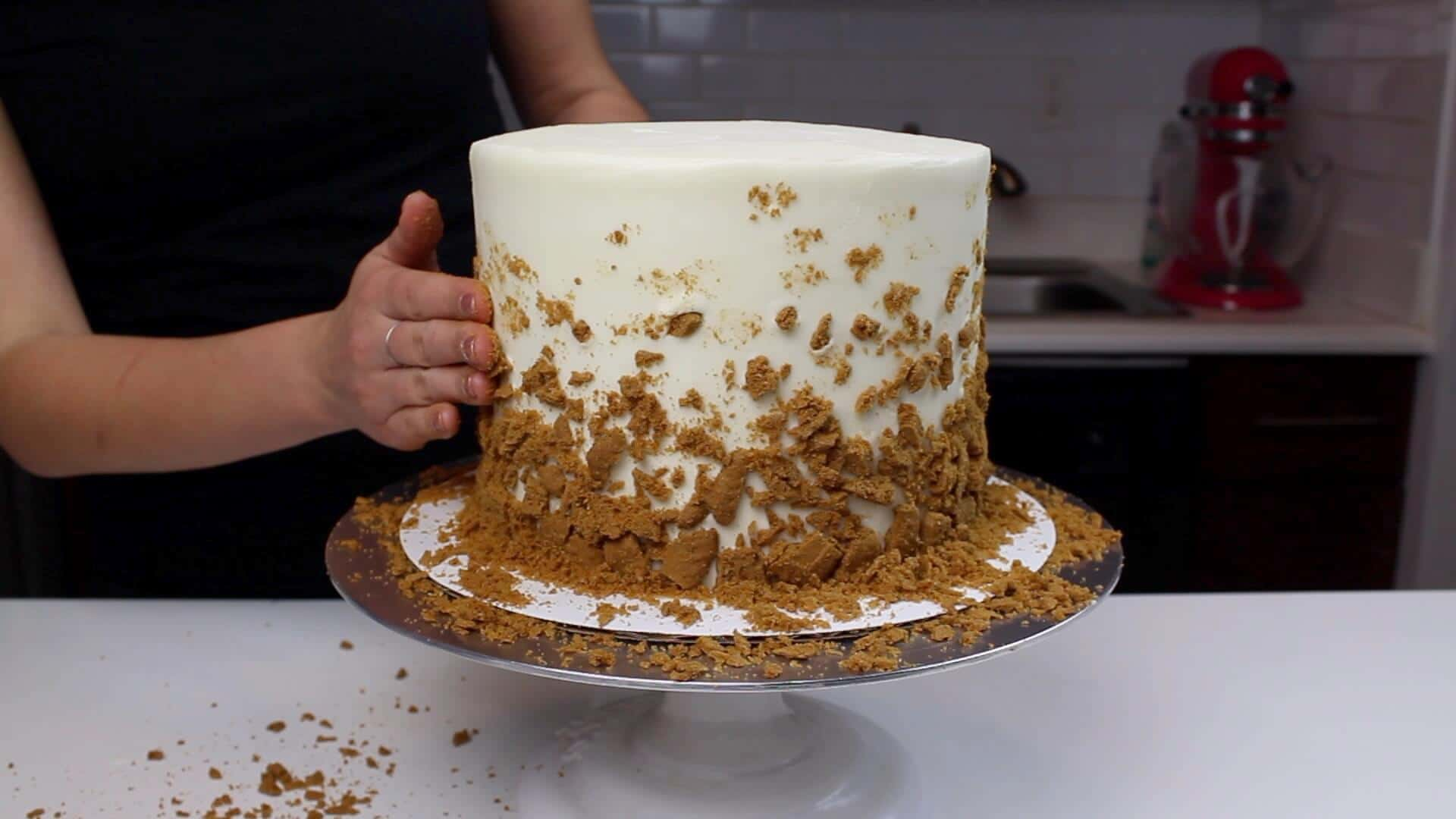 adding biscoff to cookie butter cake blog