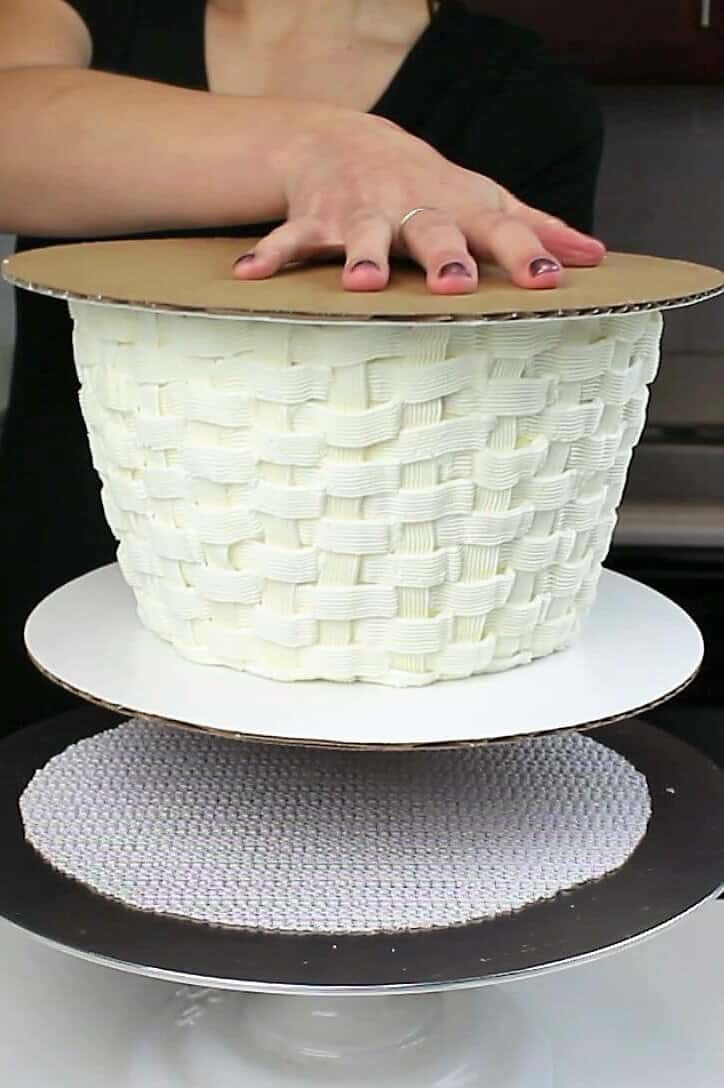 inverting this white basket cake