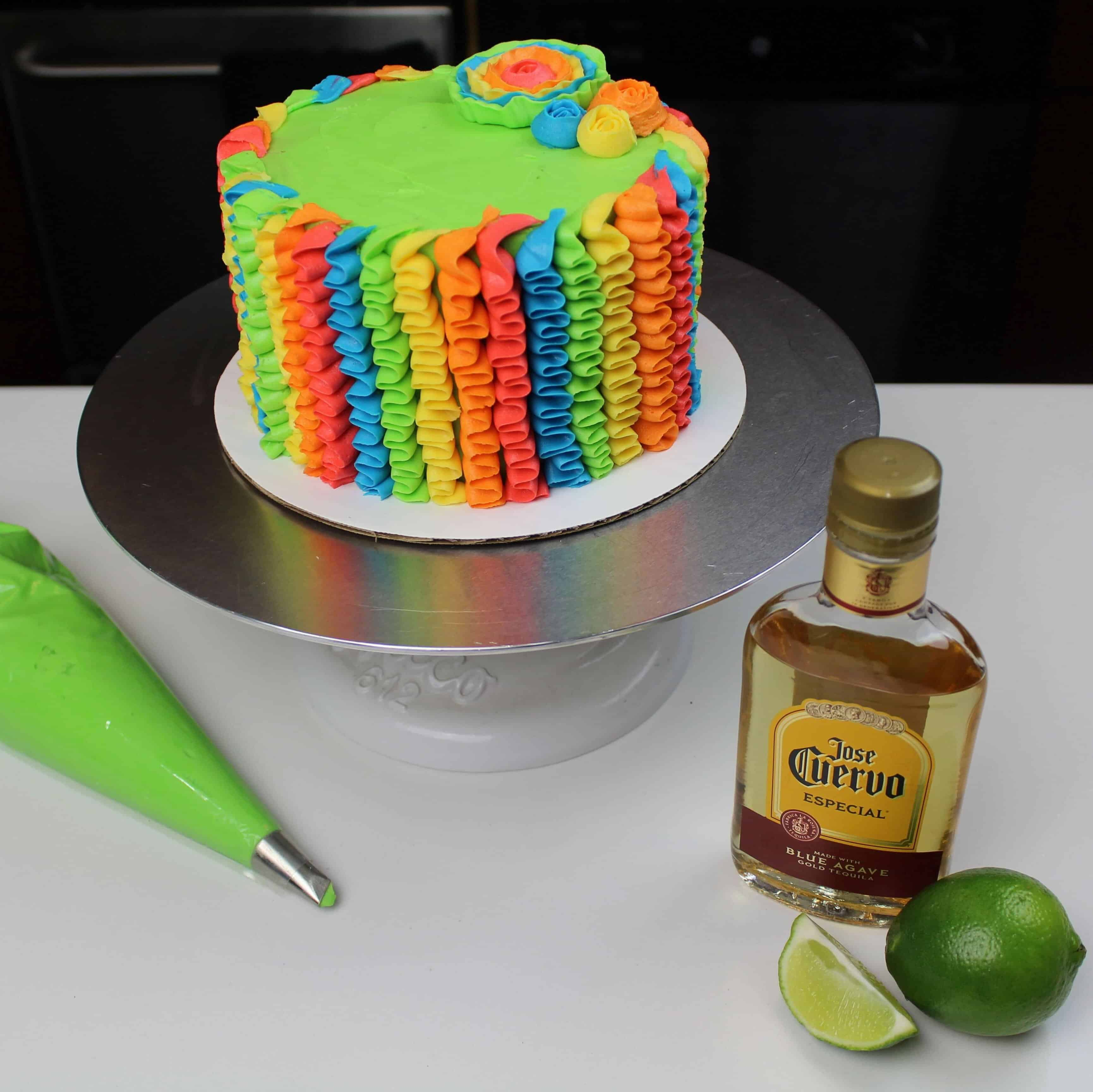 uncut tequila lime cake decorated with buttercream ruffles
