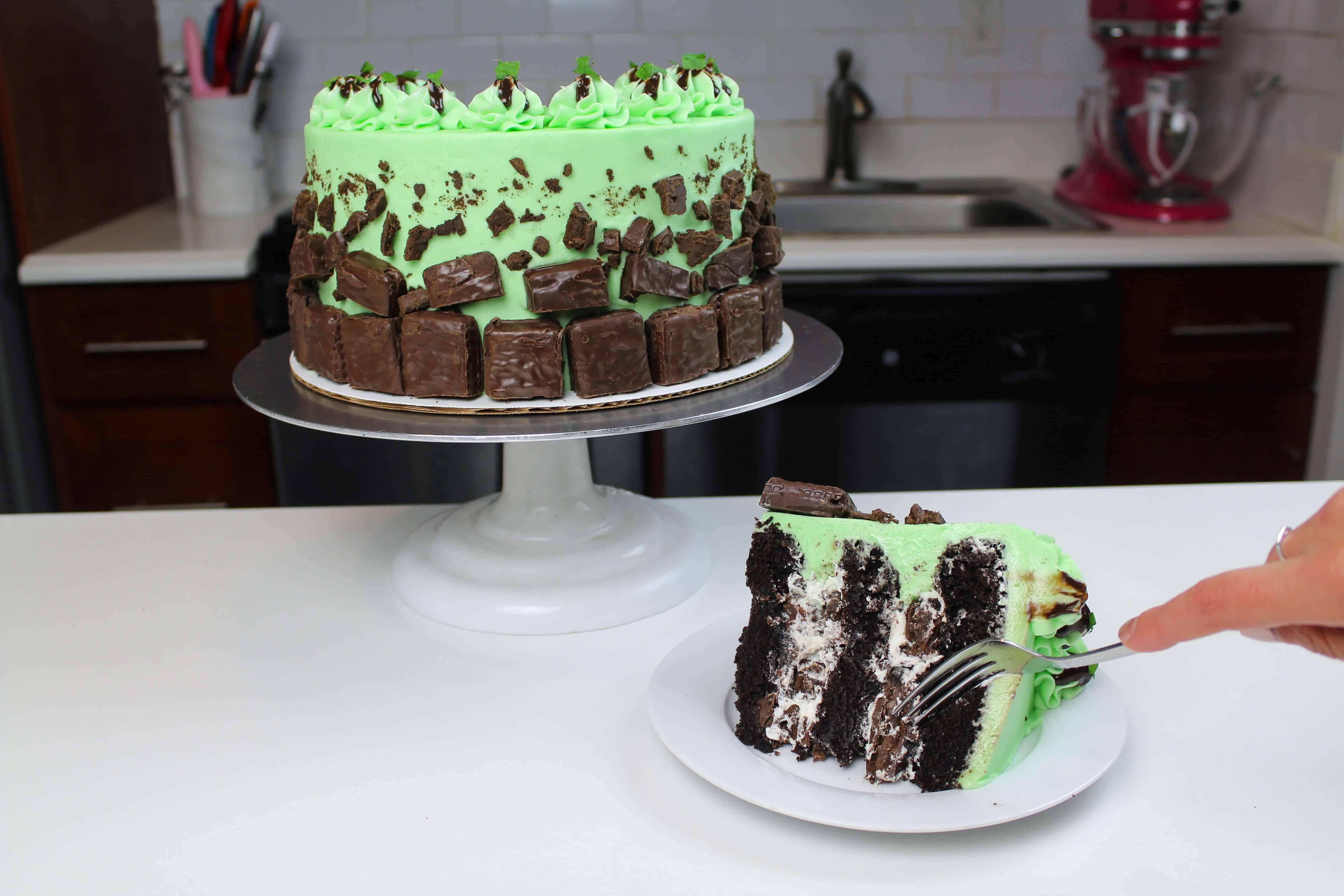 sliced tim tam cake with fork blog9