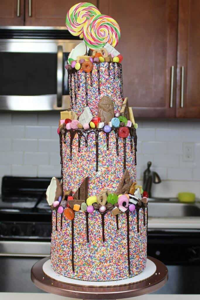 The most epic sprinkle covered, candy coated, chocolate drip cake!