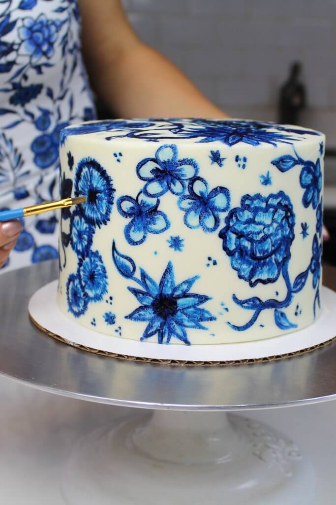 Image of painted buttercream cake