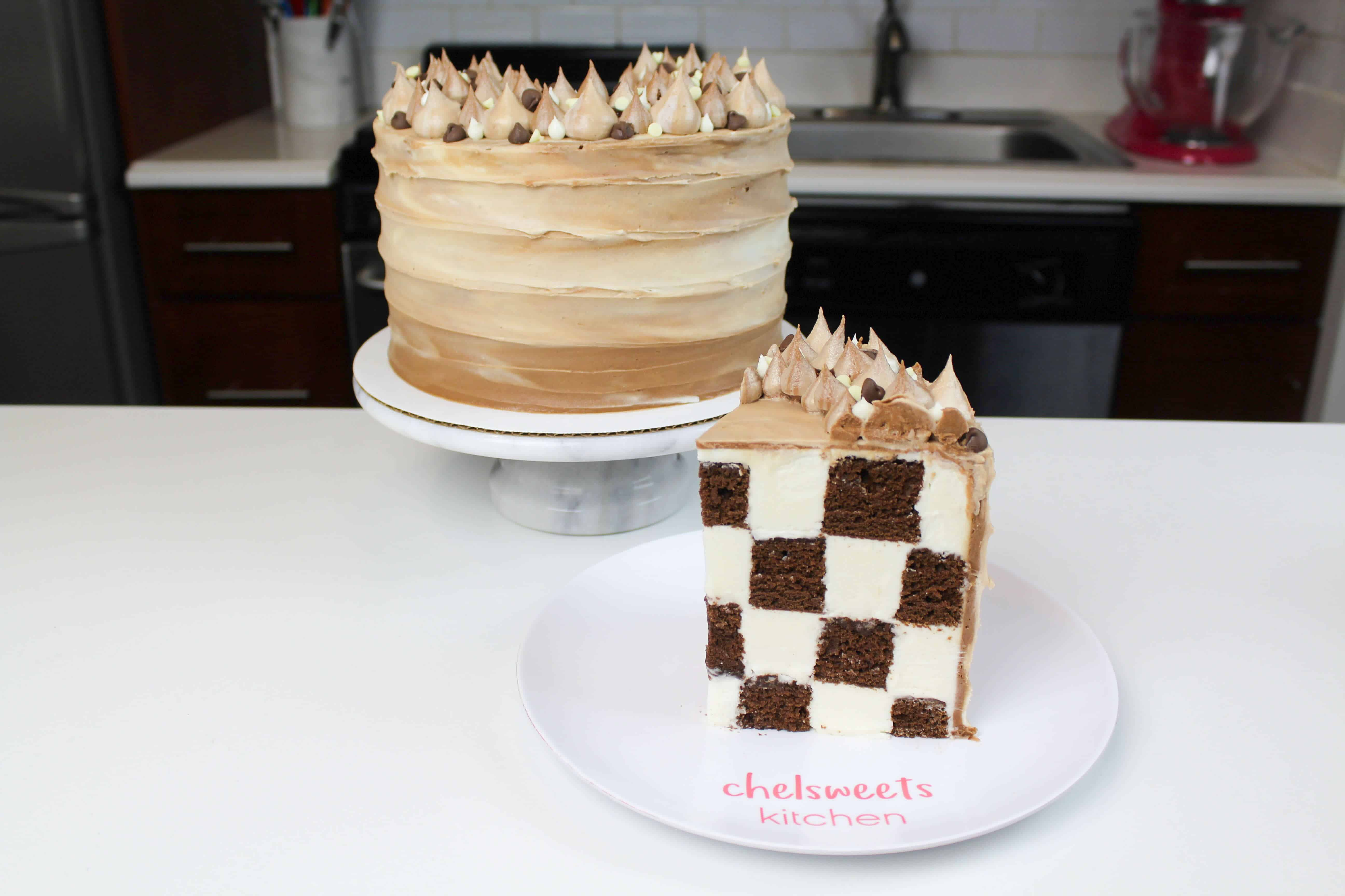 Frosting Checkerboard Cake Half Chocolate Cake Half Frosting