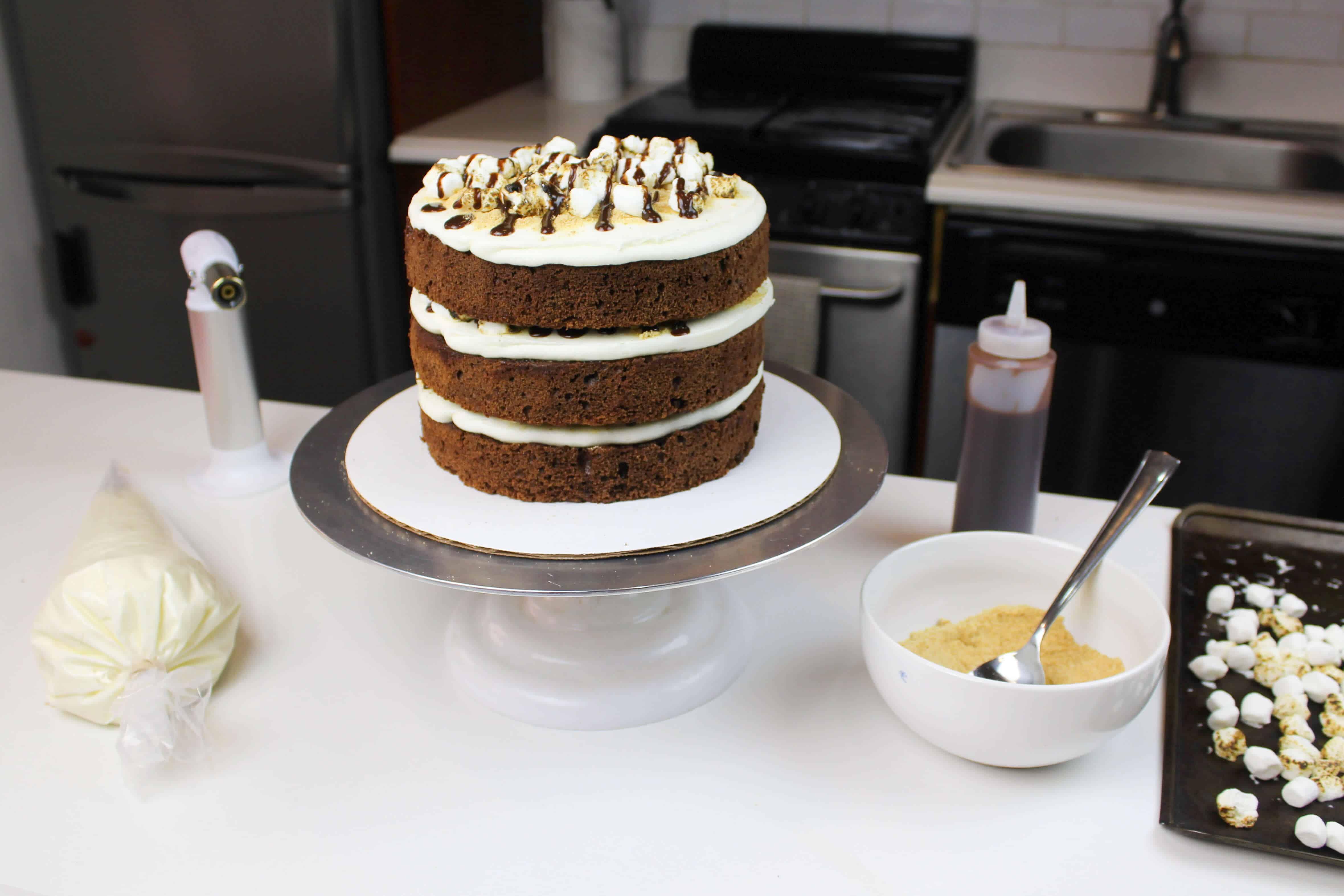 smores cake assembly