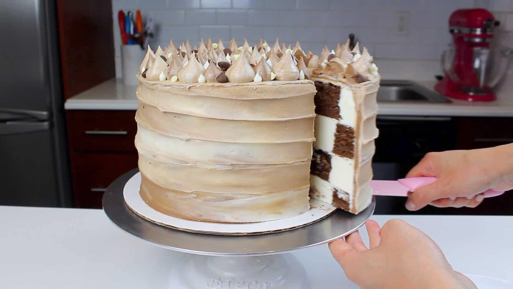 sneak peak at inside of cut checkerboard cake-2