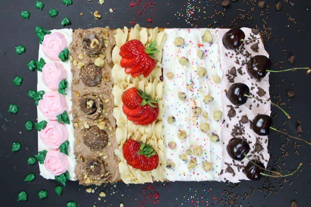 sheet cake with 5 flavors