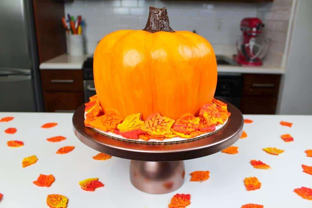 image of finished pumpkin cake made with buttercream
