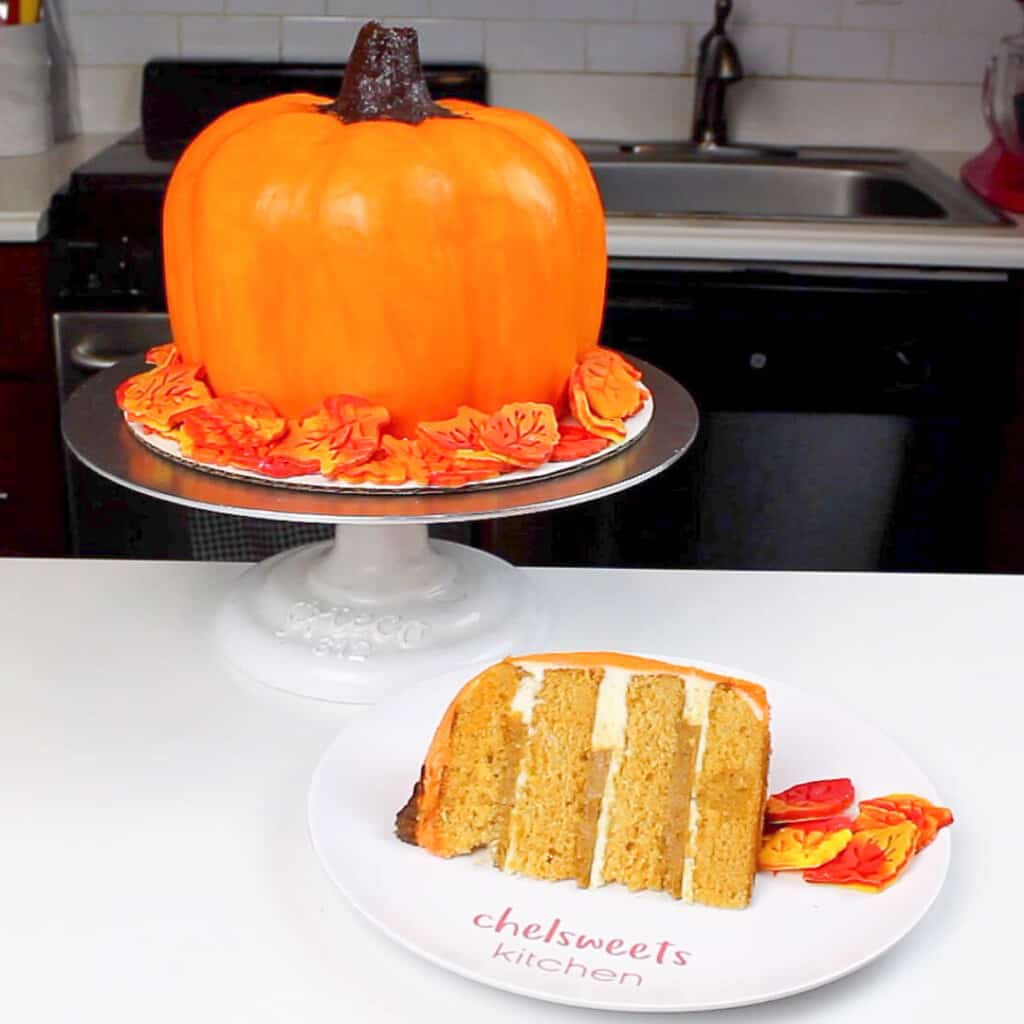image of sliced pumpkin cake