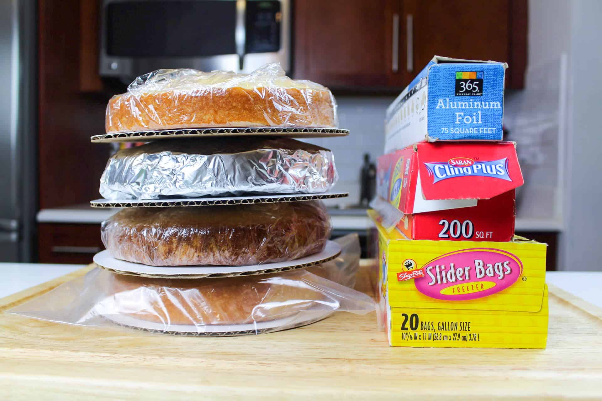 Image of cake layers made in advance and frozen