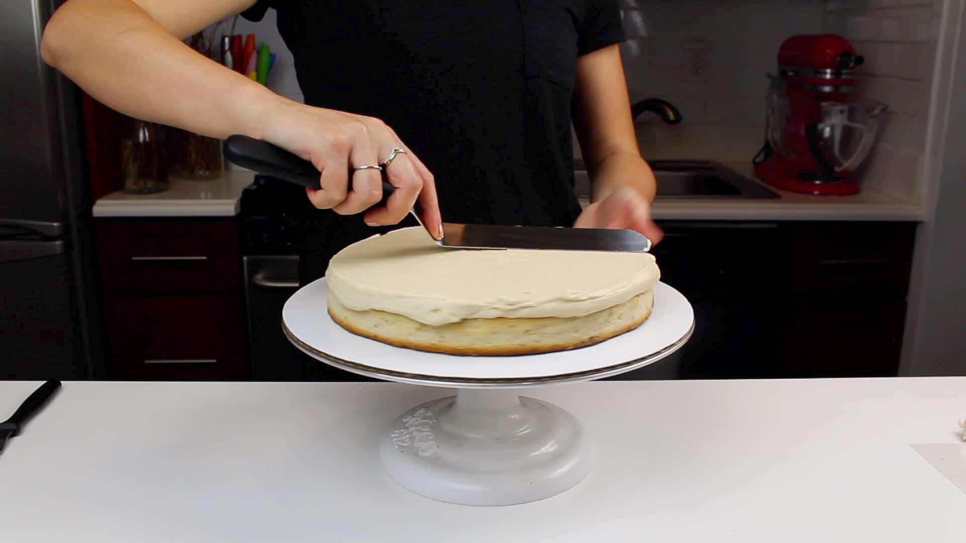 frosting PB cake layer