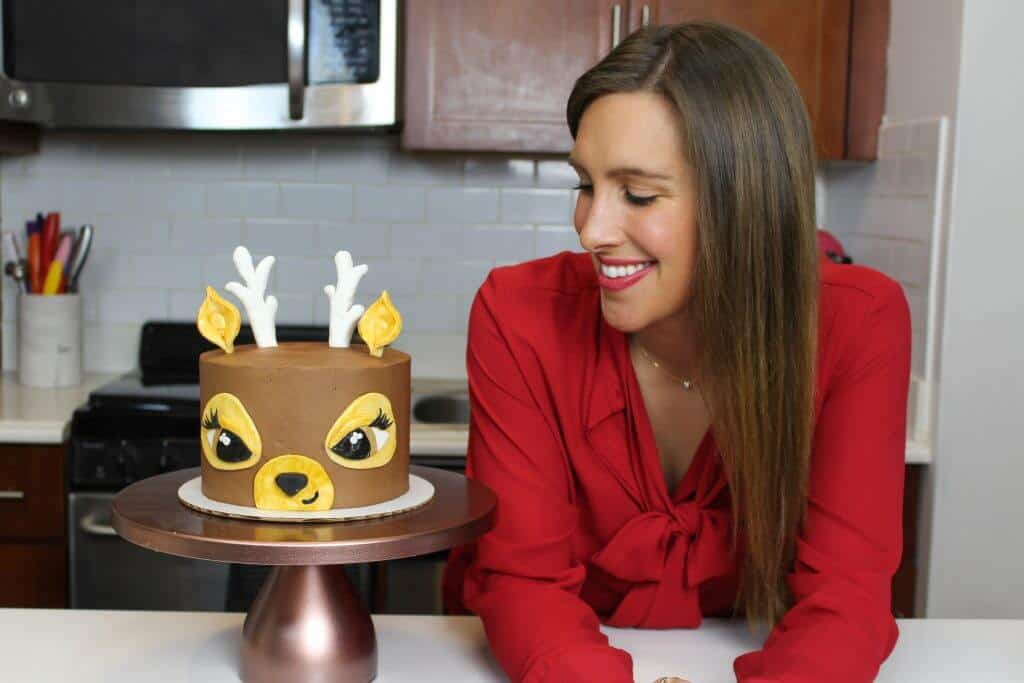 image of reindeer cake and chelsey white of chelsweets