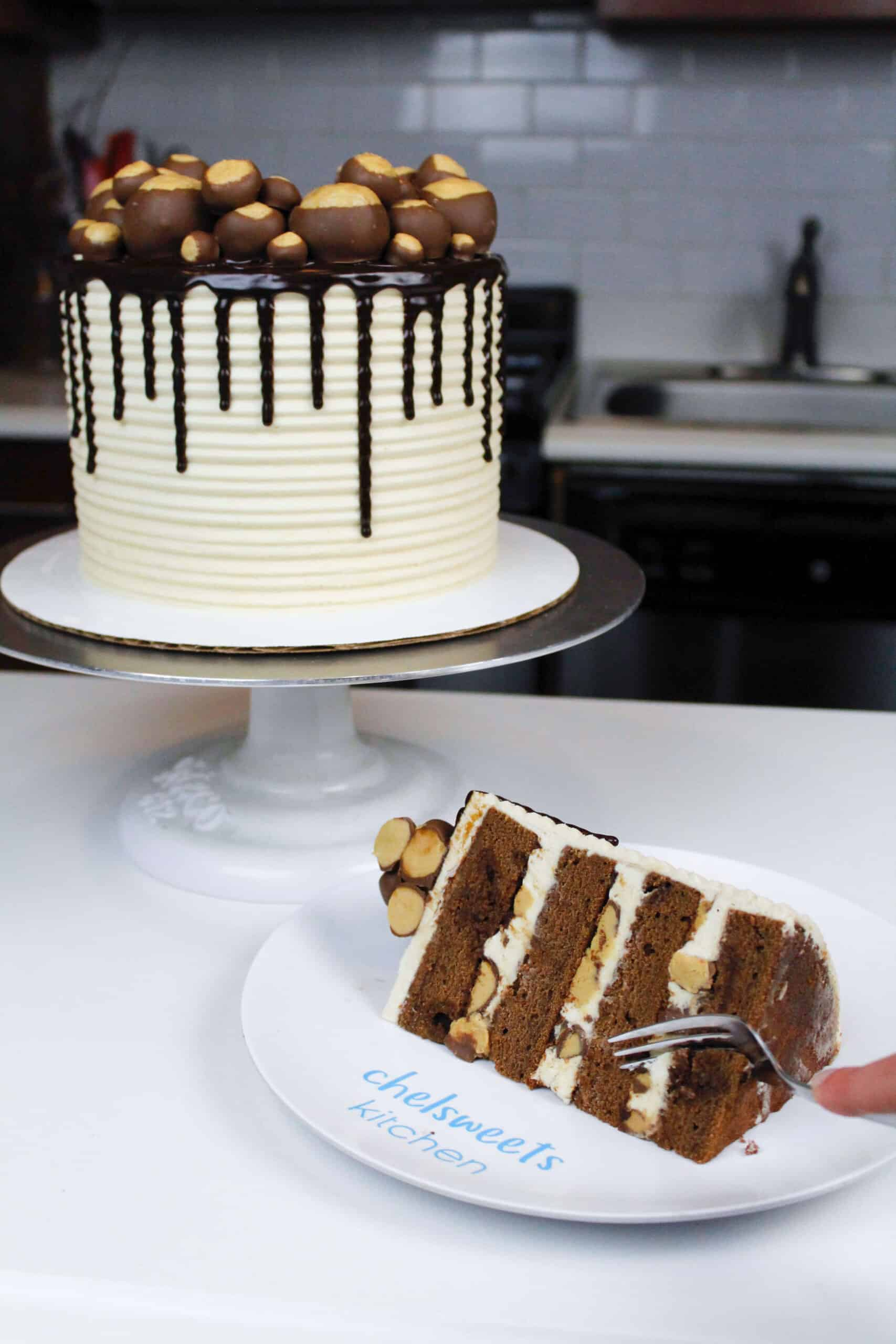 image of buckeye cake sliced with peanut butter buttercream