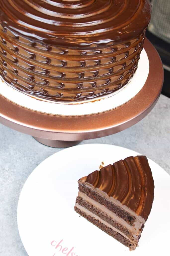 Photo of Baileys Chocolate Cake, filled with Baileys chocolate ganache, and frosted with with Baileys chocolate buttercream