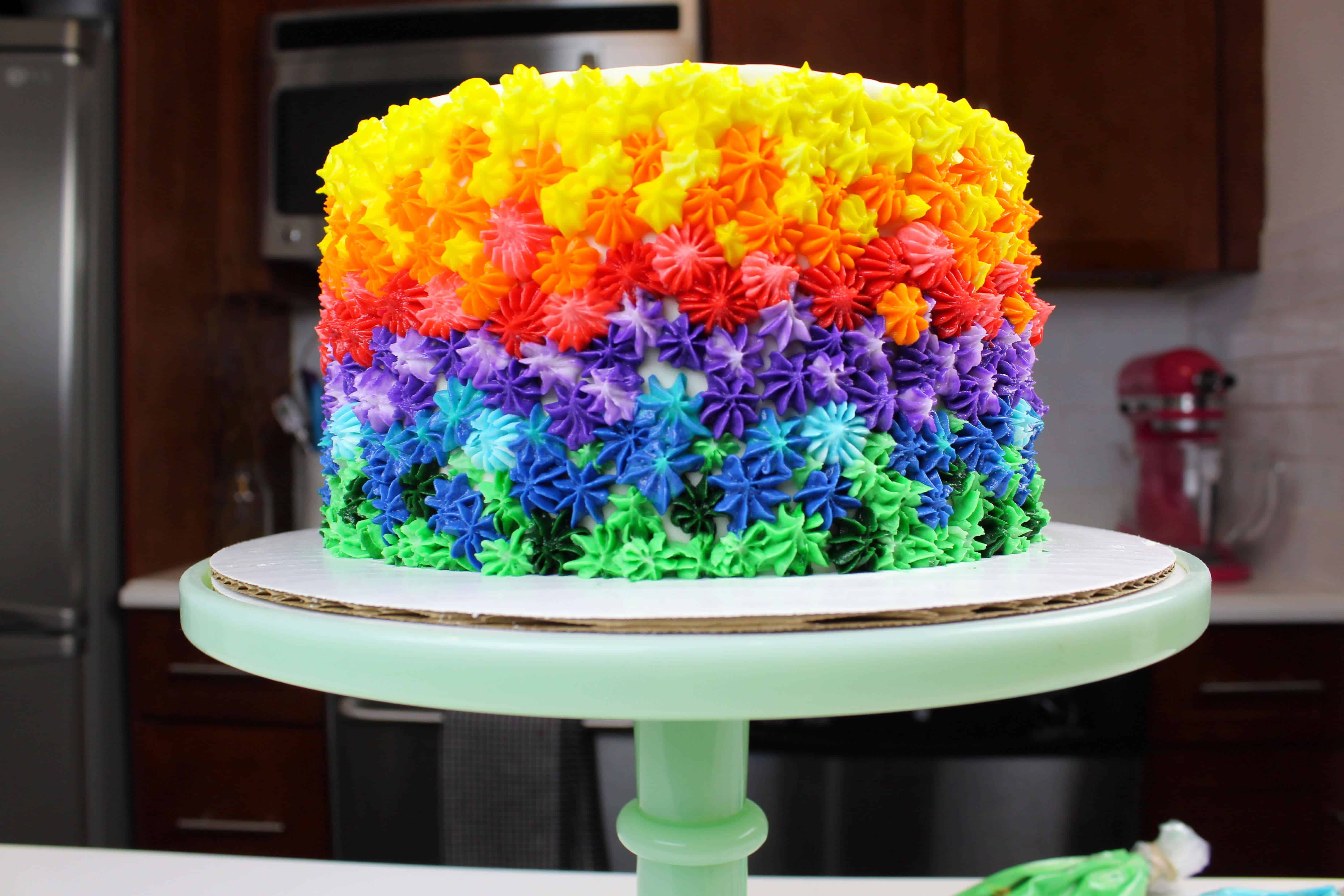 Rainbow Marble Cake With Homemade Buttercream Frosting