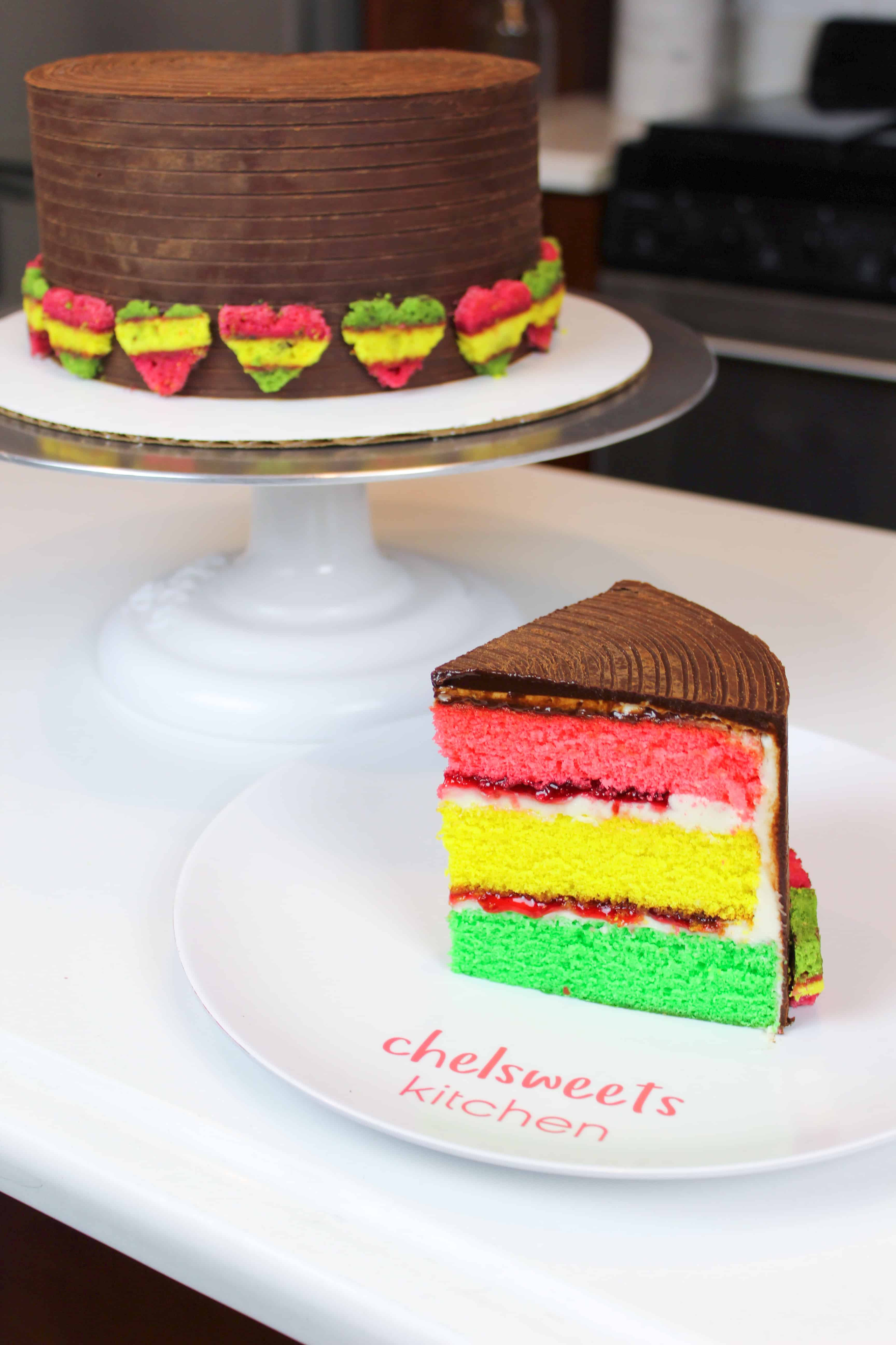 Italian rainbow cookie cake, sliced