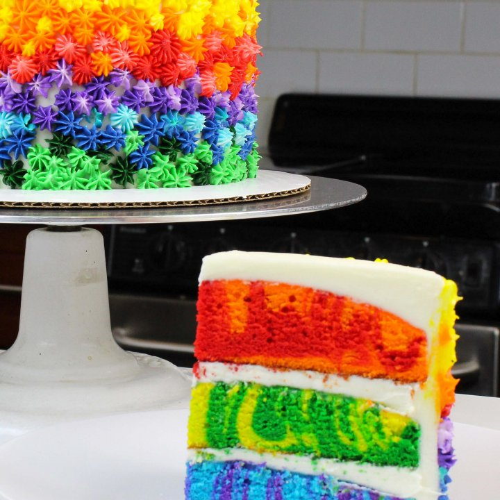 Rainbow Marble Cake Recipe With Vanilla Frosting - Chelsweets