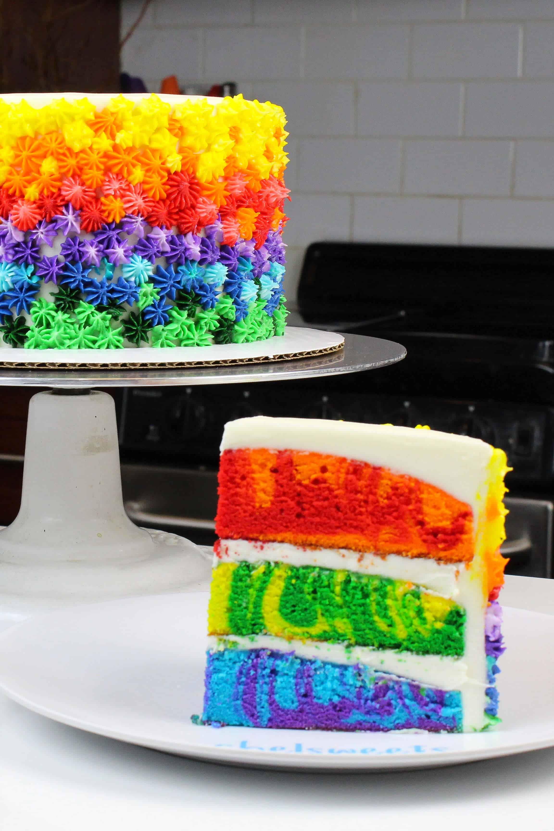 Photo of marbled rainbow cake slice