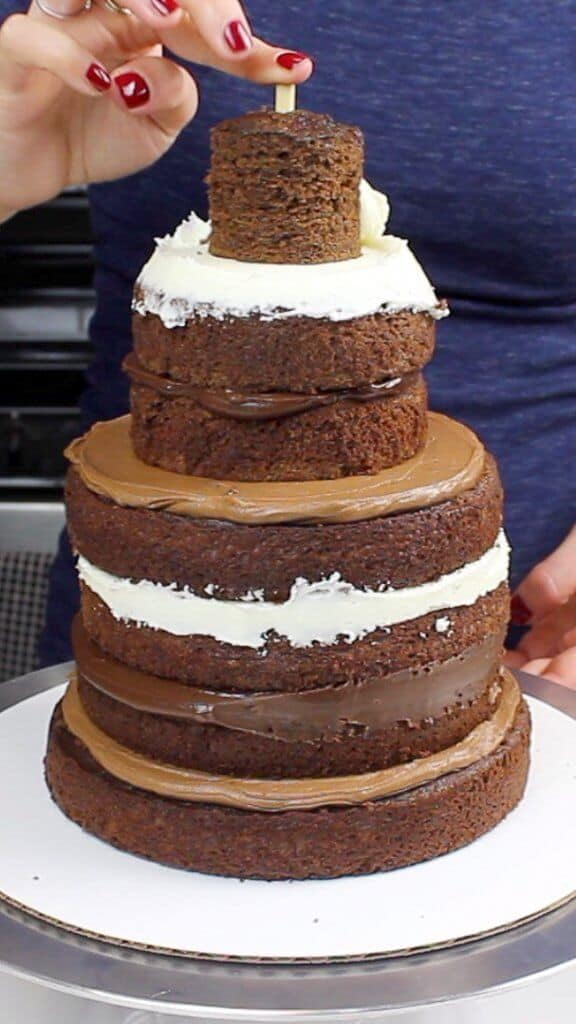 Stacked chocolate cake layers
