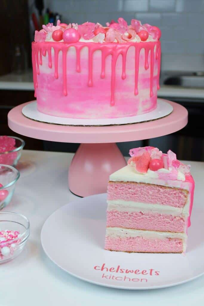 Photo of my sliced pink drip cake