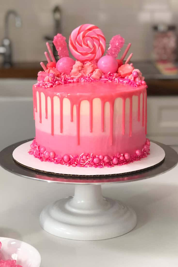Admirable Pink Drip Cake Easy Recipe And Tutorial Chelsweets Funny Birthday Cards Online Elaedamsfinfo
