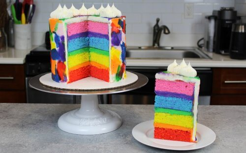 rainbow layer cake recipe, made with 4 cake layers