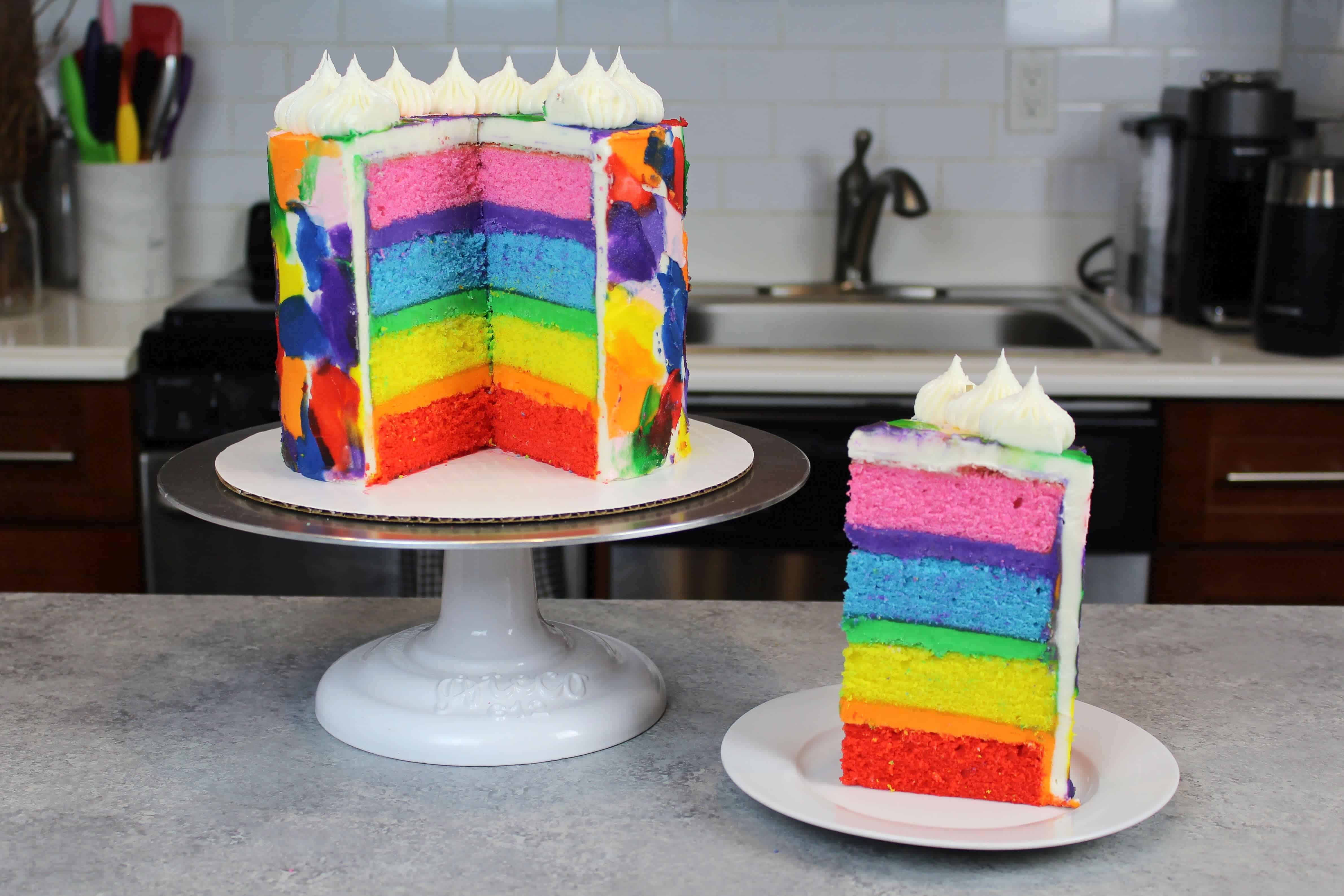 rainbow layer cake recipe, made with 4 cake layers