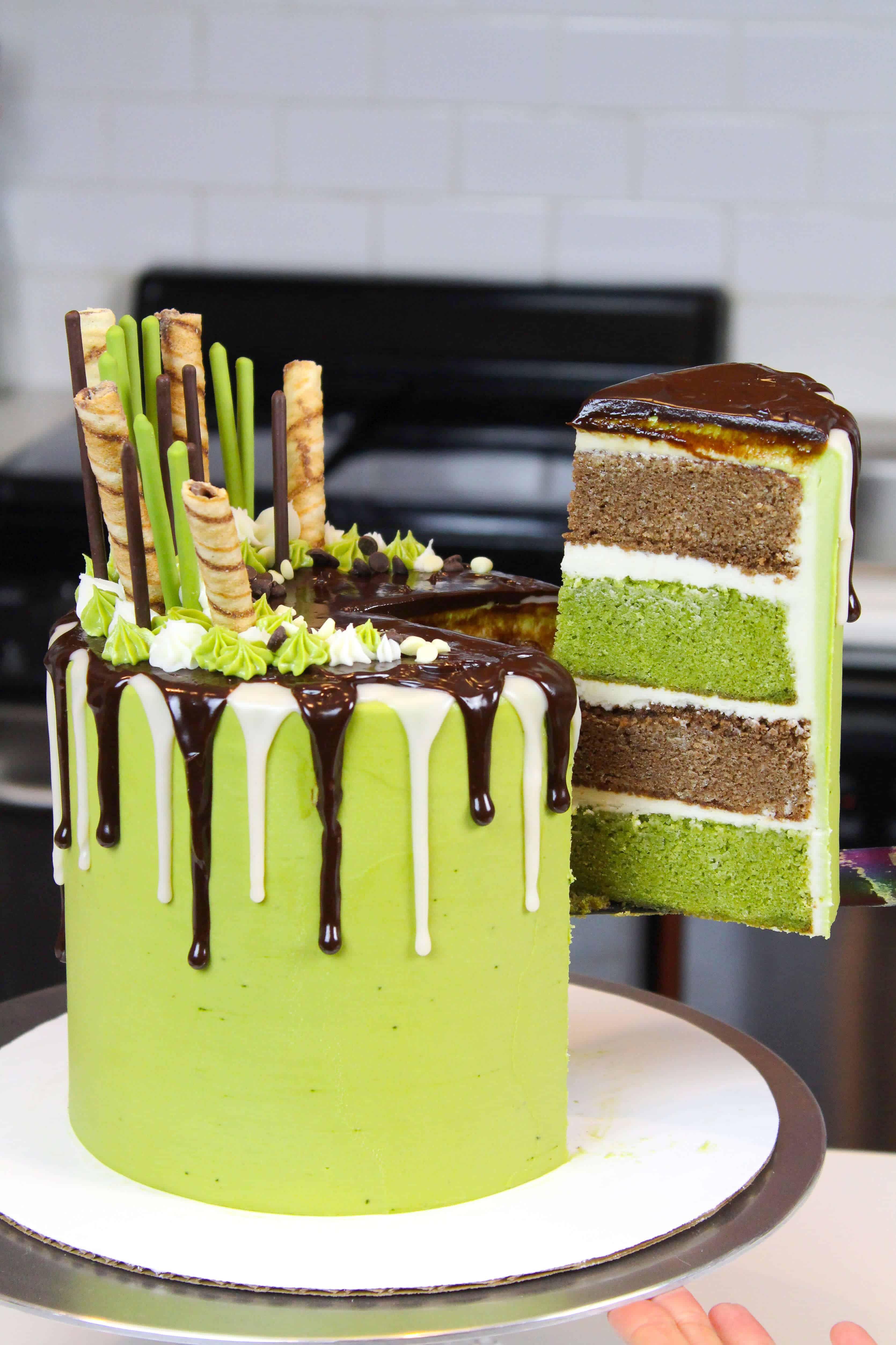 pulling slice out of chocolate matcha cake