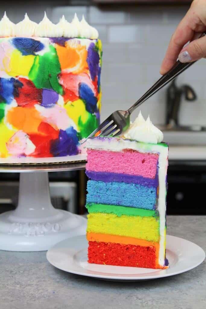 image of rainbow buttercream cake recipe
